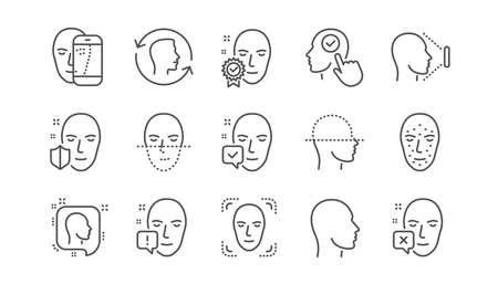 Le visage reconnaît les icônes de ligne. Détection biométrique, identification faciale et numérisation. Jeu d'icônes linéaire d'identification. Vecteur