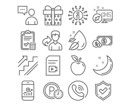 Set of Users chat, Parking time and Stairs icons. Gift box, Water drop and Smartphone statistics signs. Accounting checklist, Dollar money and Video file symbols. Vector