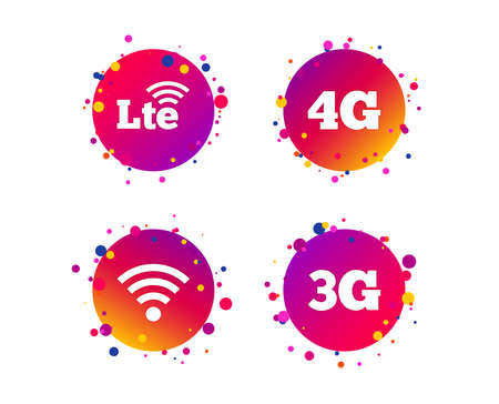 Mobile telecommunications icons. 3G, 4G and LTE technology symbols. Wifi Wireless and Long-Term evolution signs. Gradient circle buttons with icons. Random dots design. Vector