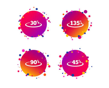 Angle 30-135 degrees icons. Geometry math signs symbols. Full complete rotation arrow. Gradient circle buttons with icons. Random dots design. Vector