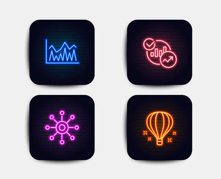 Neon glow lights. Set of Multichannel, Investment and Statistics icons. Air balloon sign. Multitasking, Economic statistics, Report charts. Sky travelling.  Neon icons. Glowing light banners. Vector