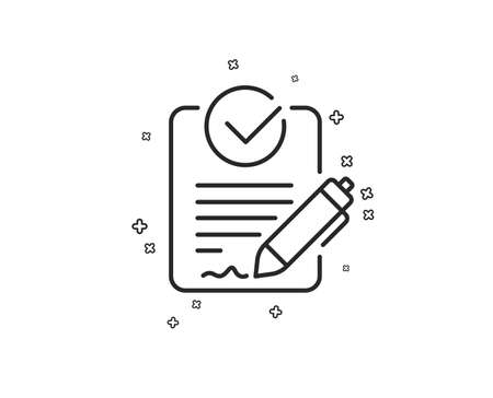 Rfp line icon. Request for proposal sign. Report document symbol. Geometric shapes. Random cross elements. Linear Rfp icon design. Vector Çizim