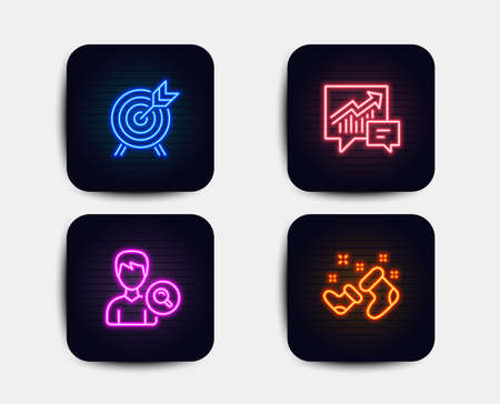 Neon set of Search people, Archery and Accounting icons. Santa boots sign. Find profile, Attraction park, Supply and demand. New year. Neon icons. Glowing light banners. Vector Illustration