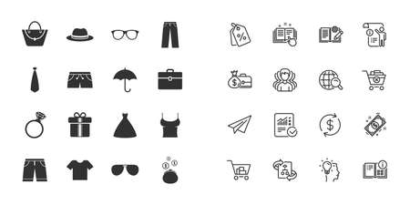Set of Clothes, Accessories and Glasses icons. Shirt, Umbrella and Hat signs. Wallet, Handbag and Briefcase symbols. Paper plane, report and shopping cart icons. Group of people. Vector Ilustração