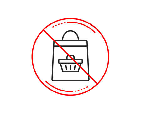No or stop sign. Shopping bag with cart line icon. Supermarket buying sign. Sale symbol. Caution prohibited ban stop symbol. No  icon design.  Vector