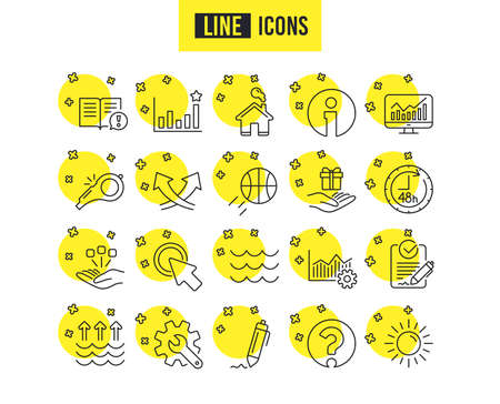Whistle, Waves and Sun line icons. Customisation, Global warming and Question mark signs. Signature Rfp, Information and Efficacy symbols. Gift box, Consolidation and Operational excellence. Vector Ilustração