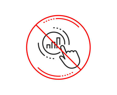 No or stop sign. Statistics line icon. Column chart sign. Growth graph diagram symbol. Caution prohibited ban stop symbol. No  icon design.  Vector Illustration
