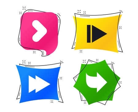 Arrow icons. Next navigation arrowhead signs. Direction symbols. Geometric colorful tags. Banners with flat icons. Trendy design. Vector