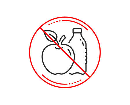 No or stop sign. Apple line icon. Fruit, water bottle sign. Natural food symbol. Caution prohibited ban stop symbol. No  icon design.  Vector Foto de archivo - 118017816