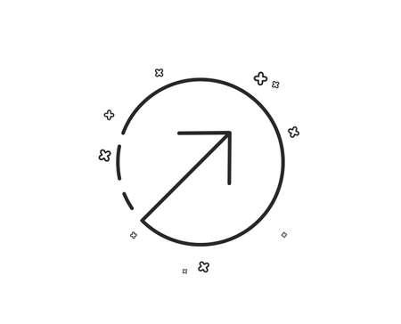 Direction arrow line icon. Arrowhead symbol. Navigation pointer sign. Geometric shapes. Random cross elements. Linear Direction icon design. Vector