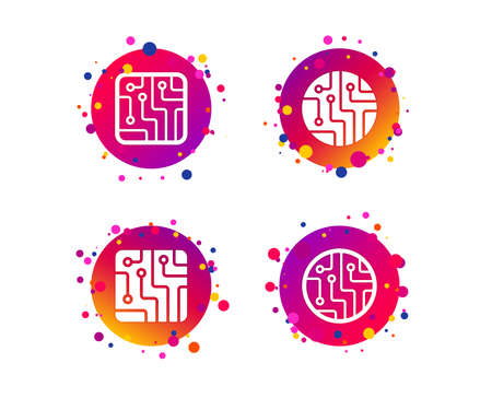 Circuit board icons. Technology scheme circles and squares sign symbols. Gradient circle buttons with icons. Random dots design. Vector