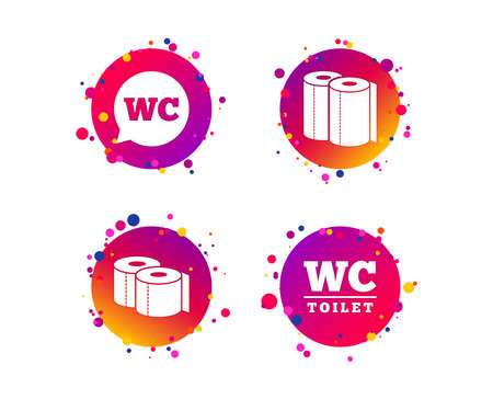 Toilet paper icons. Gents and ladies room signs. Paper towel or kitchen roll. Speech bubble symbol. Gradient circle buttons with icons. Random dots design. Vector