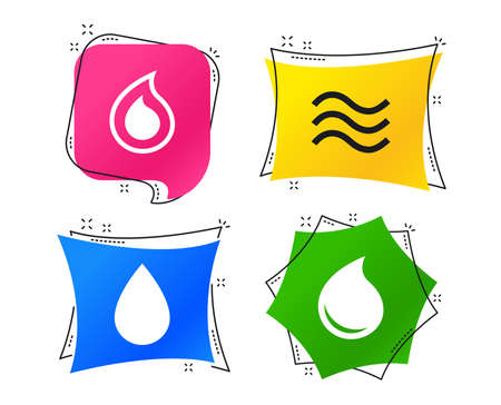 Water drop icons. Tear or Oil drop symbols. Geometric colorful tags. Banners with flat icons. Trendy design. Vector
