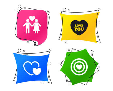 Valentine day love icons. Target aim with heart symbol. Couple lovers sign. Geometric colorful tags. Banners with flat icons. Trendy design. Vector