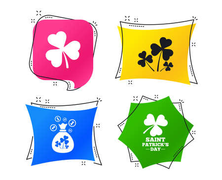 Saint Patrick day icons. Money bag with clover and coins sign. Trefoil shamrock clover. Symbol of good luck. Geometric colorful tags. Banners with flat icons. Trendy design. Vector