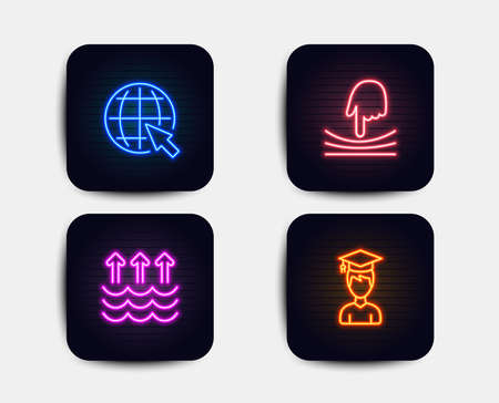 Neon glow lights. Set of Evaporation, Internet and Elastic icons. Student sign. Global warming, World web, Resilience. Graduation cap.  Neon icons. Glowing light banners. Vector