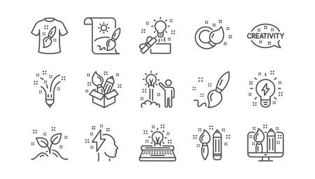 Creativity line icons. Creative designer, Idea and Inspiration. Brush and pencil linear icon set.  Vector