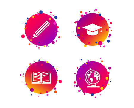 Pencil and open book icons. Graduation cap and geography globe symbols. Education learn signs. Gradient circle buttons with icons. Random dots design. Vector