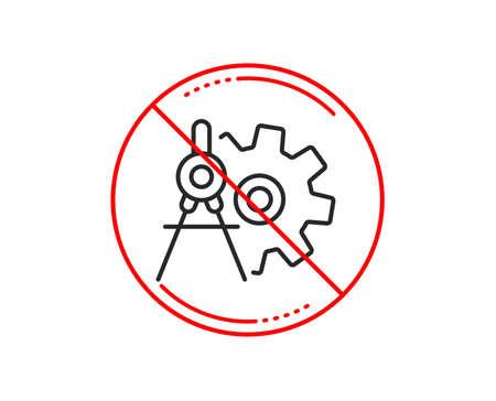 No or stop sign. Cogwheel dividers line icon. Engineering tool sign. Cog gear symbol. Caution prohibited ban stop symbol. No  icon design.  Vector