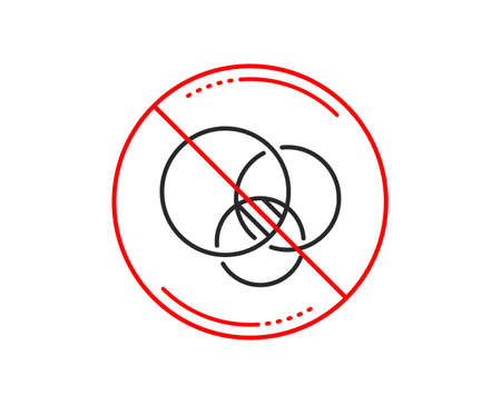 No or stop sign. diagram line icon. circles sign. Relationships chart symbol. Caution prohibited ban stop symbol. No  icon design.  Vector 向量圖像