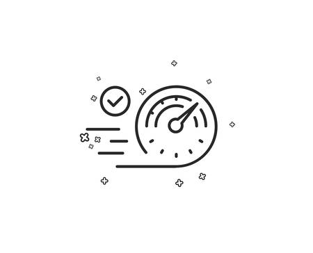 Speedometer line icon. Time concept sign. Geometric shapes. Random cross elements. Linear Speedometer icon design. Vector