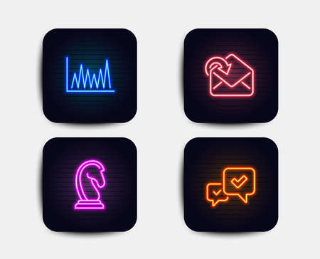 Neon glow lights. Set of Receive mail, Line graph and Marketing strategy icons. Approve sign. Incoming message, Market diagram, Chess knight. Accepted message.  Neon icons. Glowing light banners