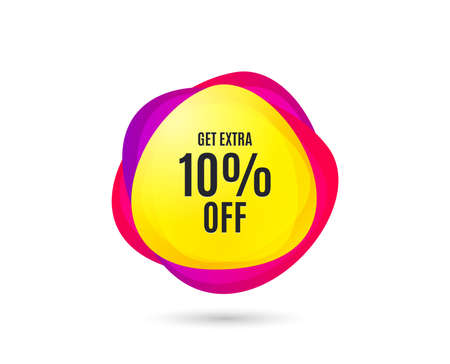 Get Extra 10% off Sale. Discount offer price sign. Special offer symbol. Save 10 percentages. Gradient sales tag. Abstract shopping banner. Template for design. Vector