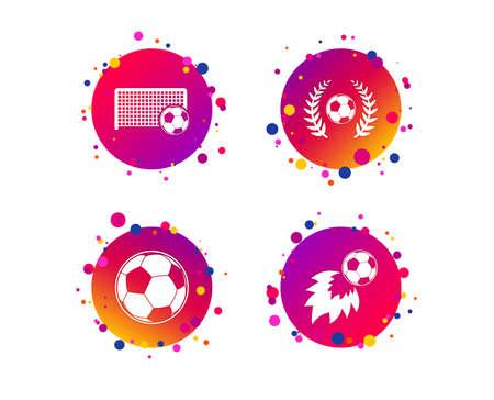 Football icons. Soccer ball sport sign. Goalkeeper gate symbol. Winner award laurel wreath. Goalscorer fireball. Gradient circle buttons with icons. Random dots design. Vector