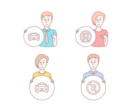 People hand drawn style. Set of Taxi, Car and Metro subway icons. No parking sign. Public transportation, Transport, Underground. Car park.  Character hold circle button. Man with like hand. Vector