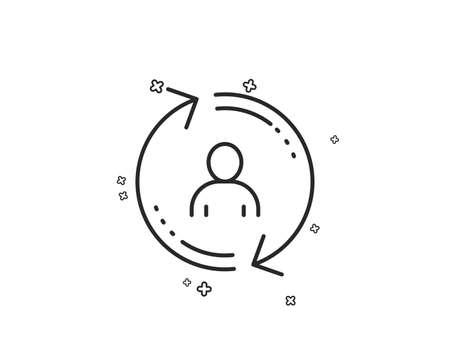 Refresh user info line icon. Update profile sign. Geometric shapes. Random cross elements. Linear User info icon design. Vector
