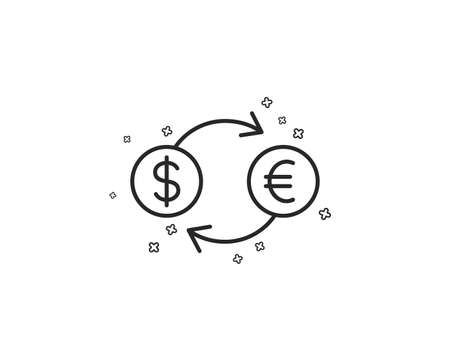 Money exchange line icon. Banking currency sign. Euro and Dollar Cash transfer symbol. Geometric shapes. Random cross elements. Linear Currency exchange icon design. Vector