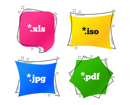 Document icons. File extensions symbols. PDF, XLS, JPG and ISO virtual drive signs. Geometric colorful tags. Banners with flat icons. Trendy design. Vector