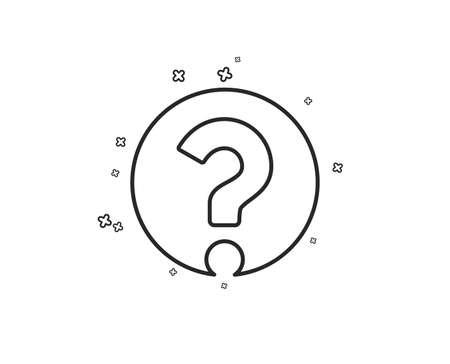 Fragezeichen-Liniensymbol. Hilfezeichen unterstützen. FAQ-Symbol. Geometrische Formen. Zufällige Kreuzelemente. Lineares Fragezeichen-Icon-Design. Vektor Vektorgrafik