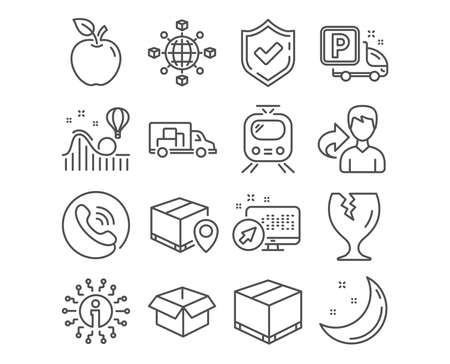 Set of Logistics network, Parcel tracking and Opened box icons. Truck parking, Delivery box and Train signs. Roller coaster, Truck transport and Fragile package symbols. Vector Illustration