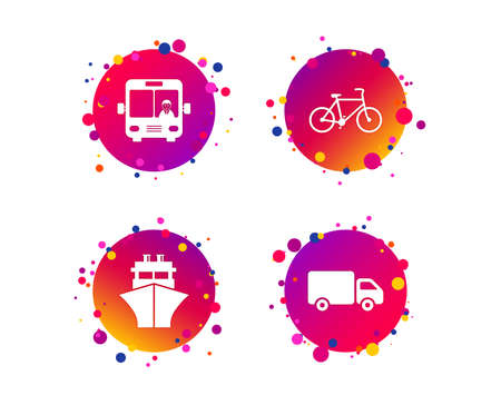 Transport icons. Truck, Bicycle, Public bus with driver and Ship signs. Shipping delivery symbol. Family vehicle sign. Gradient circle buttons with icons. Random dots design. Vector