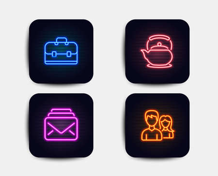 Neon glow lights. Set of Mail, Teapot and Portfolio icons. Couple sign. New messages, Tea kettle, Business case. Male and female.  Neon icons. Glowing light banners. Vector Illustration