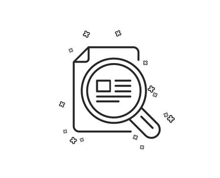 Check article line icon. Ð¡opyright sign. Magnifying glass symbol. Geometric shapes. Random cross elements. Linear Check article icon design. Vector