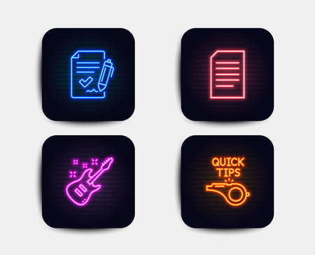 Neon glow lights. Set of Document, Approved agreement and Electric guitar icons. Tutorials sign. Information file, Signature document, Musical instrument. Quick tips. Neon icons. Vector