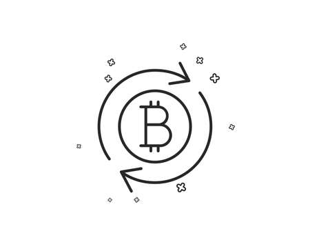 Bitcoin line icon. Refresh cryptocurrency coin sign. Crypto money symbol. Geometric shapes. Random cross elements. Linear Refresh bitcoin icon design. Vector Standard-Bild - 124744749