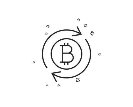 Icono de línea de Bitcoin. Actualizar signo de moneda criptomoneda. Símbolo de dinero criptográfico. Formas geométricas. Elementos cruzados aleatorios. Diseño de icono de actualización lineal bitcoin. Vector Ilustración de vector