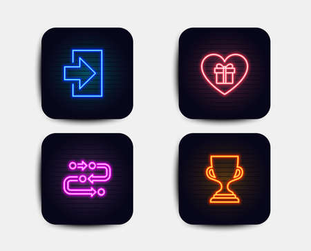 Neon glow lights. Set of Login, Romantic gift and Methodology icons. Award cup sign. Sign in, Surprise with love, Development process. Trophy.  Neon icons. Glowing light banners. Vector