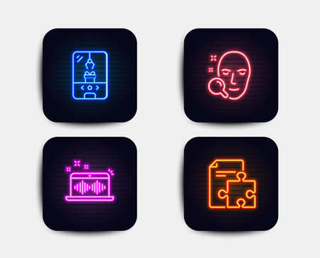 Neon glow lights. Set of Face search, Crane claw machine and Music making icons. Strategy sign. Find user, Attraction park, Dj app. Puzzle.  Neon icons. Glowing light banners. Vector Illustration