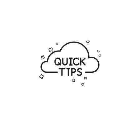 Quick tips cloud line icon. Helpful tricks sign. Geometric shapes. Random cross elements. Linear Quick tips icon design. Vector