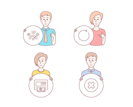 People hand drawn style. Set of Atm, Synchronize and Correct answer icons. Close button sign. Money withdraw, Refresh or update, Approved. Delete or decline.  Character hold circle button. Vector