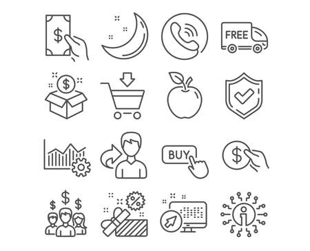 Set of Salary employees, Free delivery and Online market icons. Sale, Post package and Buy button signs. Payment, Receive money and Operational excellence symbols. Vector Illustration