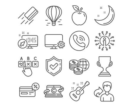 Set of Air balloon, Award cup and Credit card icons. Correct checkbox, World money and Monitor settings signs. Copywriting notebook, Cashback and Guitar symbols. Flight travel, Trophy, Bank payment