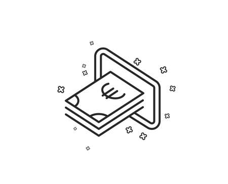 Cash money line icon. Banking currency sign. Euro or EUR symbol. Geometric shapes. Random cross elements. Linear Cash icon design. Vector 向量圖像