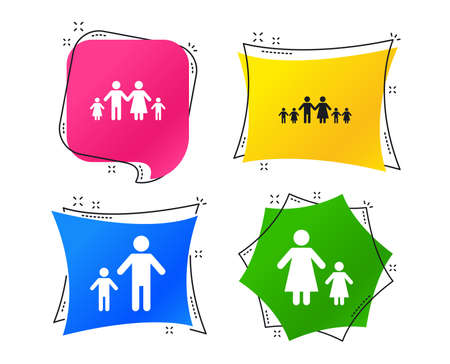 Large family with children icon. Parents and kids symbols. One-parent family signs. Mother and father divorce. Geometric colorful tags. Banners with flat icons. Trendy design. Vector