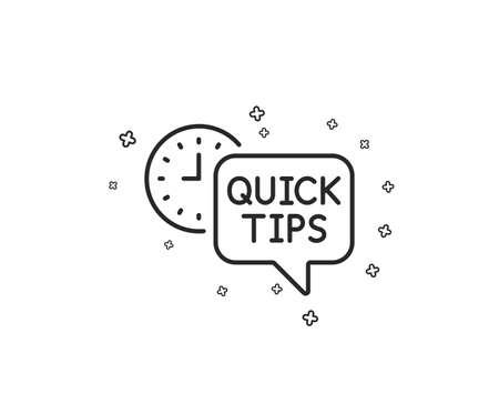 Quick tips line icon. Helpful tricks sign. Tutorials symbol. Geometric shapes. Random cross elements. Linear Quick tips icon design. Vector