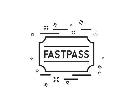 Fastpass line icon. Amusement park ticket sign. Fast track symbol. Geometric shapes. Random cross elements. Linear Fastpass icon design. Vector Stock Vector - 118081750